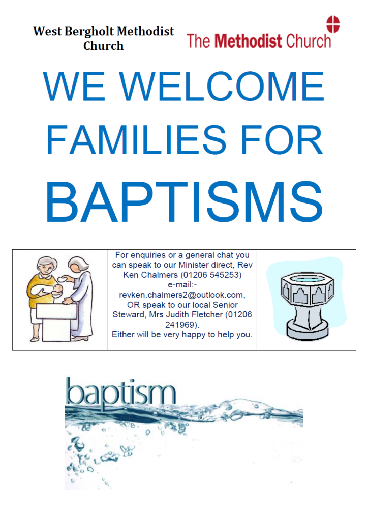 We welcome families for baptisms. Please contact our minister, the Rev. Ken Chalmers.