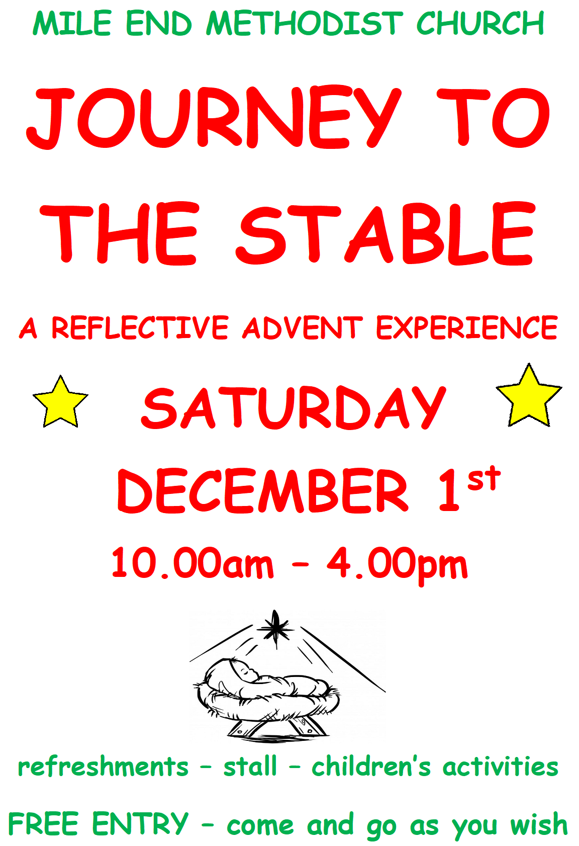 Advertisement for Journey to the Stable event Saturday 1st December 2018 10am to 4pm